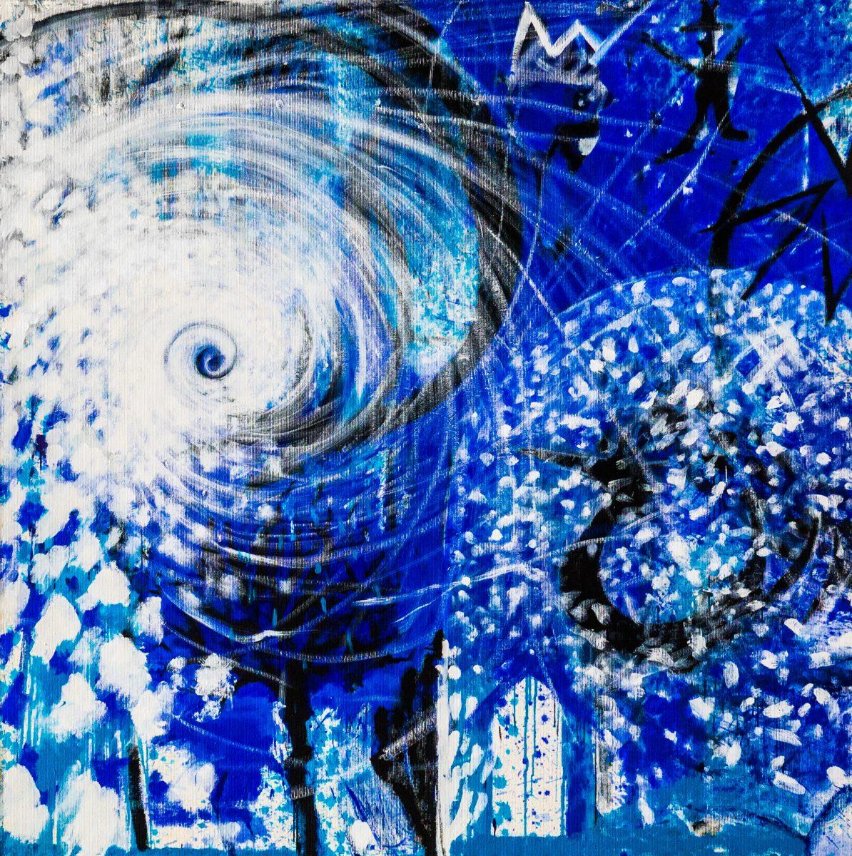 029_drinnen & draußen, Acryl auf Zellstoff, 182 x 182 cm, 2010