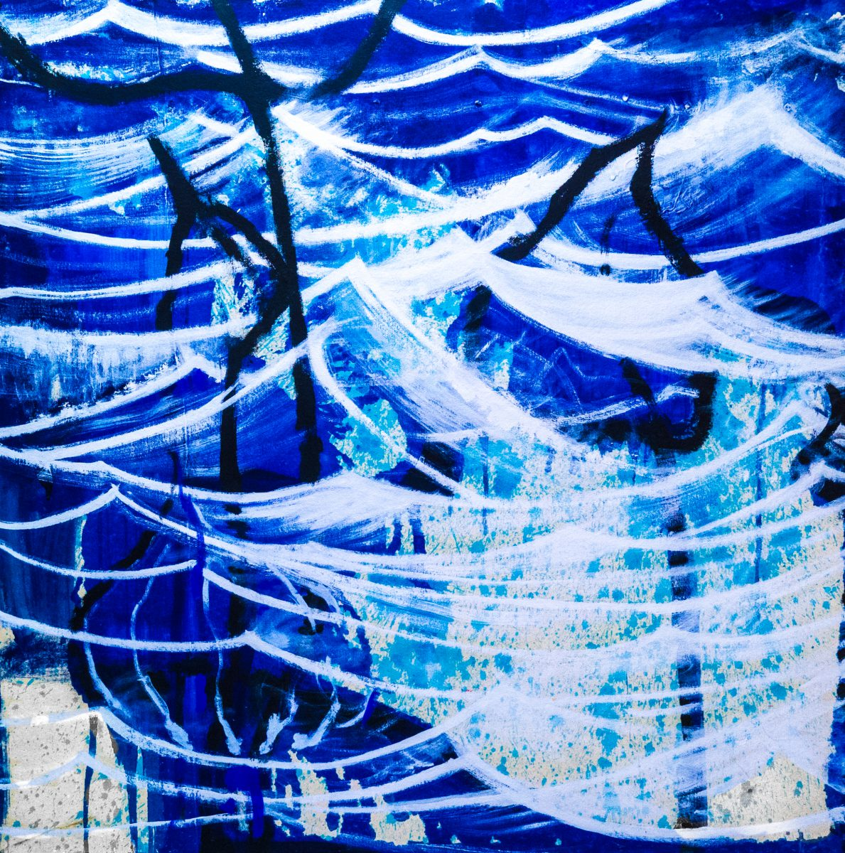 031_Underworld, Acryl auf Zellstoff, 182 x 182 cm