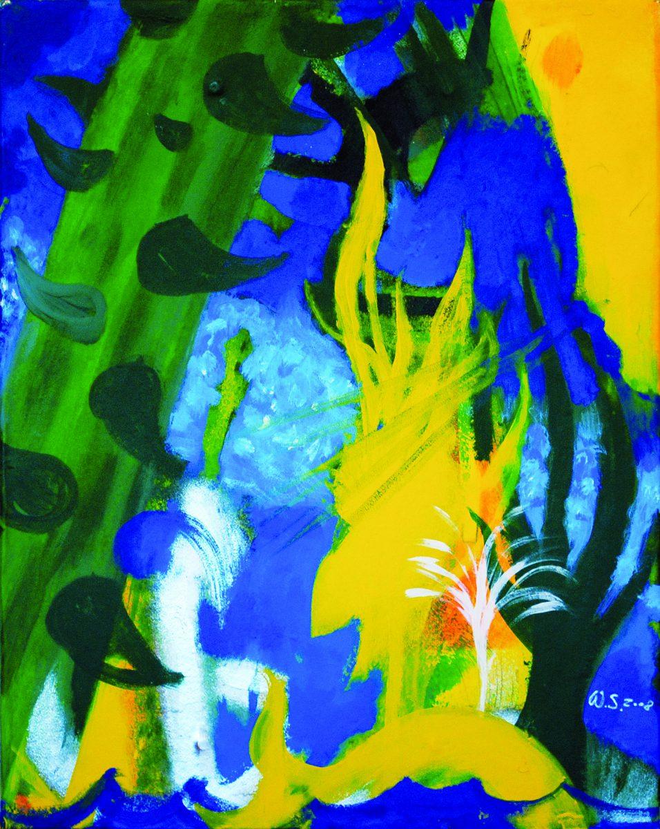 121_2010_Abendstimmung_Acryl auf Zellstoff auf Seidenpapier_74x58